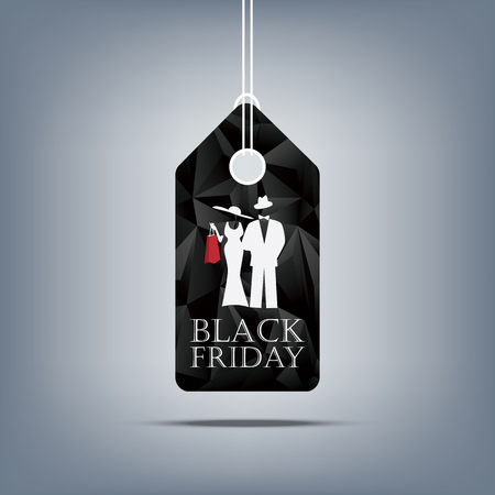 Black friday sale banner template. Price tag with low poly background. Man and woman silhouettes in fashion clothes.