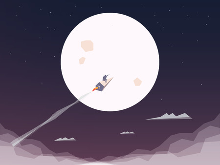 business symbol: Space rocket flying to the moon. Startup business symbol. Technology innovation background or wallpaper.  Illustration