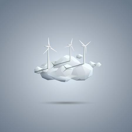 turbina: símbolo de la energía eólica. Turbinas en la nube. vector de fondo ambiental. plantilla del cartel de la ecología. ilustración vectorial Eps10.