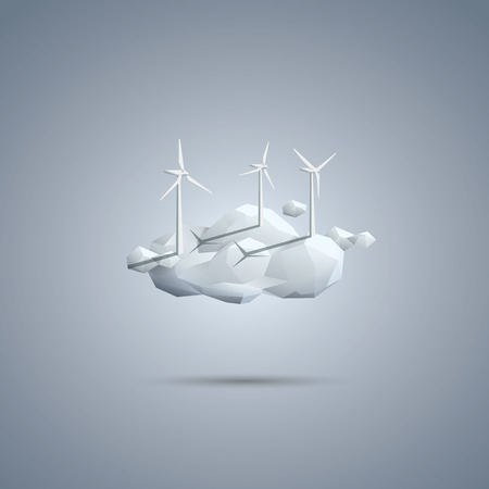 wind: Wind energy symbol. Turbines on cloud. Environmental vector background. Ecology poster template. Eps10 vector illustration. Illustration