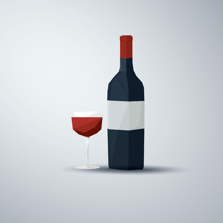 low poly: Red wine bottle and glass. Low poly vector design. Alcohol drink symbol. Restaurant or bar promotional banner.