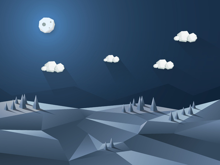Low poly 3d landscape night scene. Nature environmental background with hills and trees.  Illustration