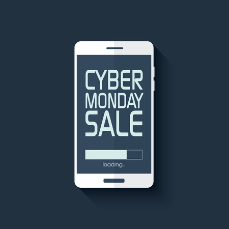 monday: Cyber monday sale poster. Promotional text in smartphone for shopping event. Advertising banner flat design template.