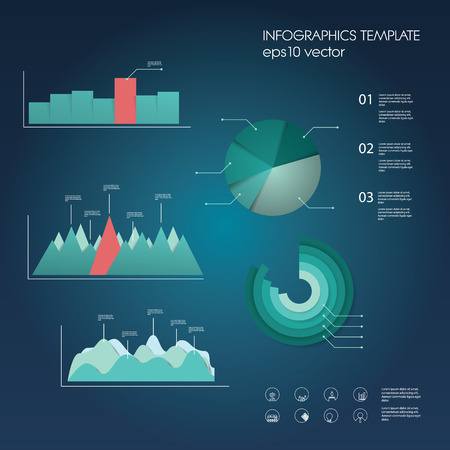 budget: Set of graphs and charts in modern material design. Infographic elements collection for data statistics presentation.