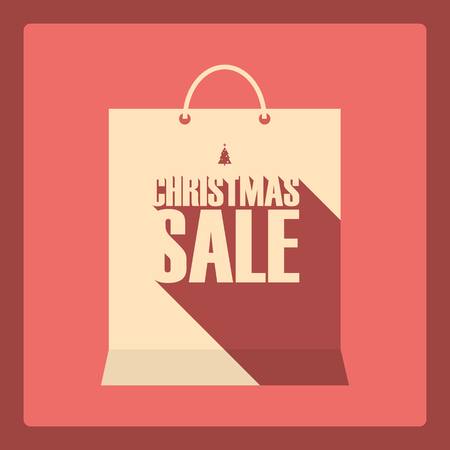 shopping malls: Christmas sale banner. Holiday sales poster. Seasonal clearance promotion. Long shadow typography. Eps10 vector  illustration