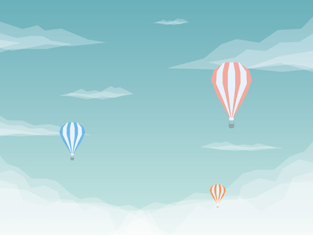 Hot air balloons vector background. Low poly design with sky and clouds.  vector illustration.