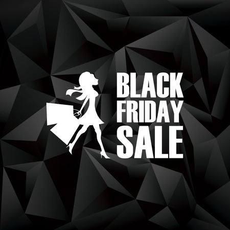 black woman: Black friday banner. Low poly design poster background. Fashionable woman shopping and text.  vector illustration.