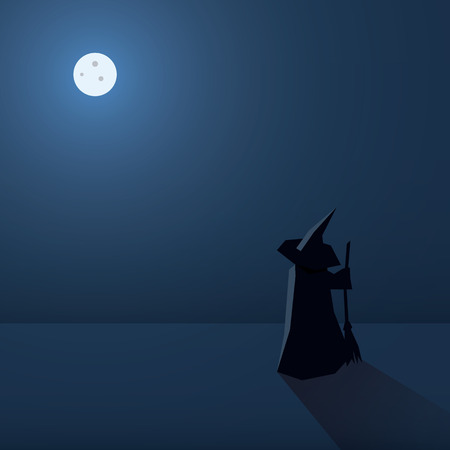 witch silhouette: Scary halloween card vector background. Holiday poster template. Witch silhouette and space for text.  vector background.