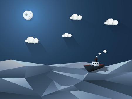 barco caricatura: Poco vapor en alta mar. Noche fondo del océano. Diseño poli baja en 3d. ilustración vectorial. Vectores
