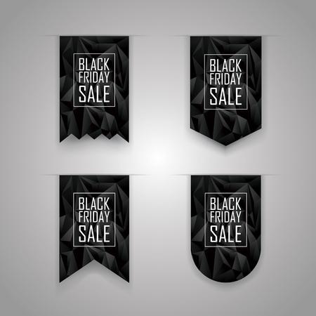 vacanza: Nastro venerdì nero. Elementi di vacanza di vendita. Promozione delle vendite banner. Segnalibri Sconti pubblicitarie. illustrazione vettoriale.