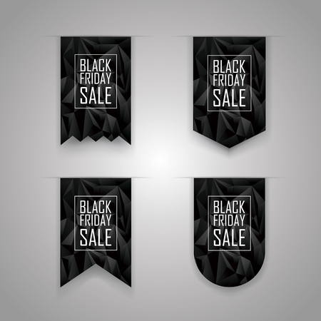 Black friday ribbon. Holiday sale elements. Sales promotion banner. Discounts advertising bookmarks.  vector illustration.