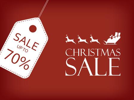 クリスマス セールのバナーです。休日営業のベクトルの背景。サンタがトナカイのそりに乗って。テキストのためのスペースとの価格タグ。Eps10 のベクター イラストです。 写真素材 - 45155895