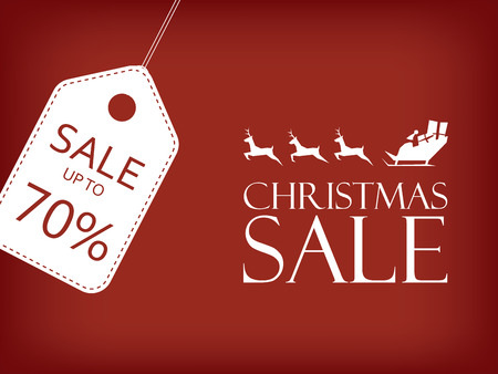 Christmas sale banner. Holiday sales vector background. Santa riding sleigh with reindeer. Price tag with space for text. Eps10 vector illustration.
