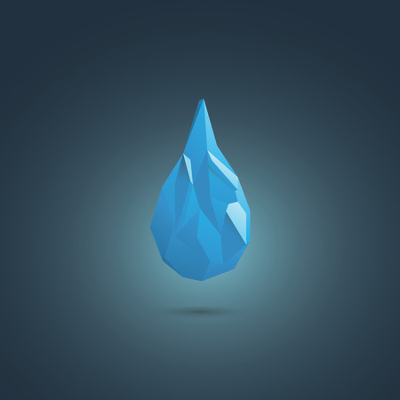 pure element: Water drop vector symbol. Low poly design icon. Sign of freshness, suitable for corporate business presentation. Eps10 vector illustration. Illustration