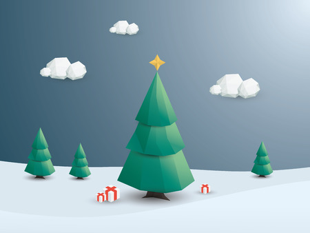 tree design: Low poly christmas tree. Holiday card template. Winter landscape with snow. Eps10 vector illustration.