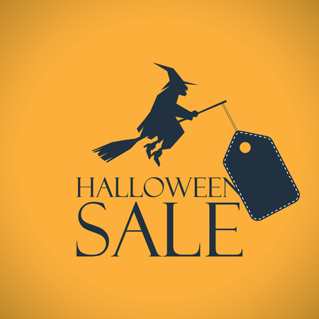 Halloween sale background. Seasonal clearance poster. Discounts banner template. Eps10 vector illustration. Illustration