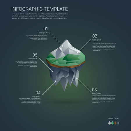 floating island: Business infographics template. Low poly floating island with mountain landscape. Brochure cover or report presentation. Eps10 vector illustration.