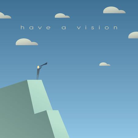 vision futuro: Concepto de visión empresarial. Mirando el futuro con binoculares. Historieta simple, el espacio para el texto. Ilustración vectorial Eps10. Vectores