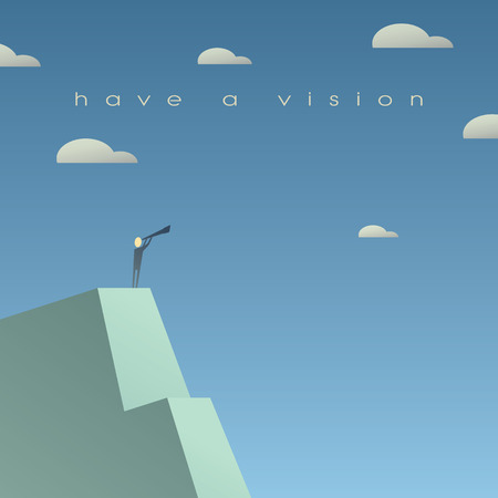 Business vision concept. Looking at future with binoculars. Simple cartoon, space for text. Eps10 vector illustration. Vettoriali
