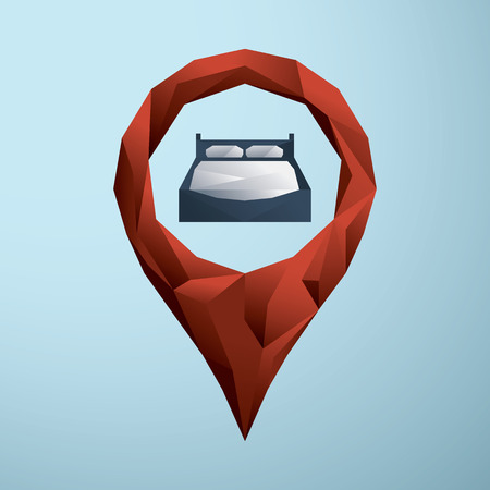 accomodation: Hotel icon with bed symbol. Low poly design style. Location pin sign. Eps10 vector illustration.
