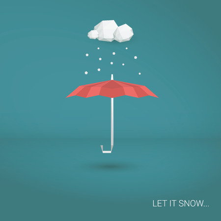 snowing: Christmas snowing card. Red umbrella and falling snowflakes. Holiday postcard template. Eps10 vector illustration.