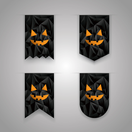 holiday icons: Set of halloween ribbon elements. Holiday icons collection. Low poly black background. Eps10 vector illustration.