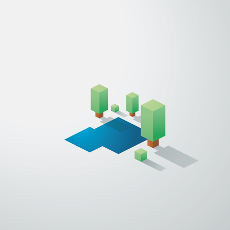 simplistic icon: Minimalistic nature landscape background. Low poly isometric design. Trees and lake environment. Eps10 vector illustration.
