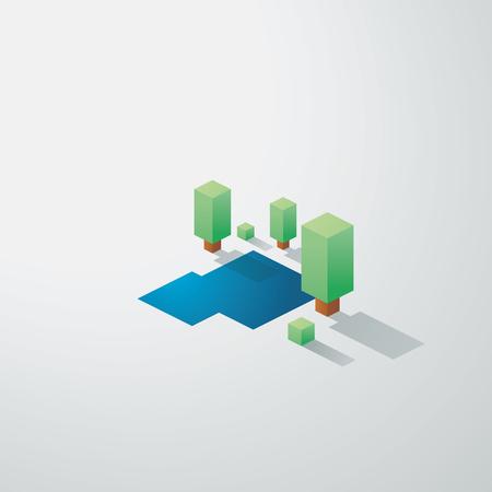 eden: Minimalistische Natur Landschaft Hintergrund. Low Poly isometrische Design. B�ume und See Umwelt. Eps10 Vektor-Illustration. Illustration