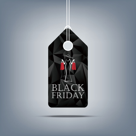 holiday shopping: Black friday sale template. Holiday sales background. Price tag symbol for discounts. Elegant woman with shopping bags. Eps10 vector illustration.