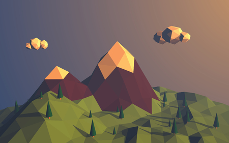 low poly: Low poly mountains landscape vector background. Polygonal shapes peaks with snow on top and trees around. Sunset wallpaper. Illustration