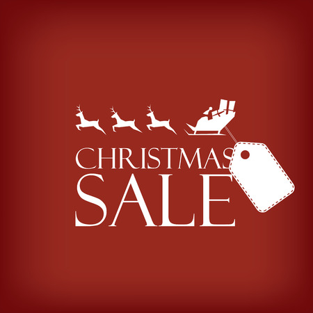 clothing store: Christmas sale poster. Holiday sales vector template. Santa Claus riding sleigh with reindeer. Price tag for promotional text. Illustration