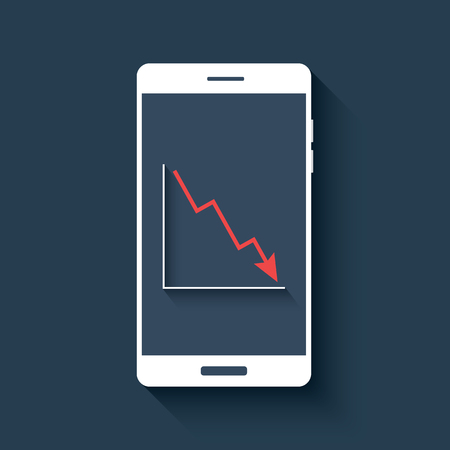 smartphone business: Mobile chart infographics element. Smartphone with graphs. Business report diagram. Red line graph falling.