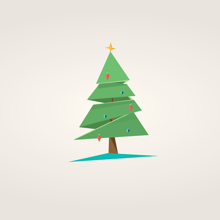 design vector: Low poly christmas tree. Holiday vector background in polygonal design.