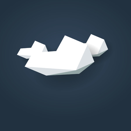 overcast: Low poly weather icon. Forecast symbol in modern 3d design. Cloudy or overcast.