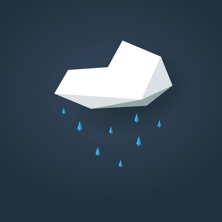 rain weather: Low poly weather icon. Forecast symbol in modern 3d design. Rain or showers sign. Eps10 vector illustration. Illustration