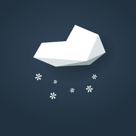 cold season: Low poly weather icon. Forecast symbol in modern 3d design. Winter snowing sign for cold season. Eps10 vector illustration.