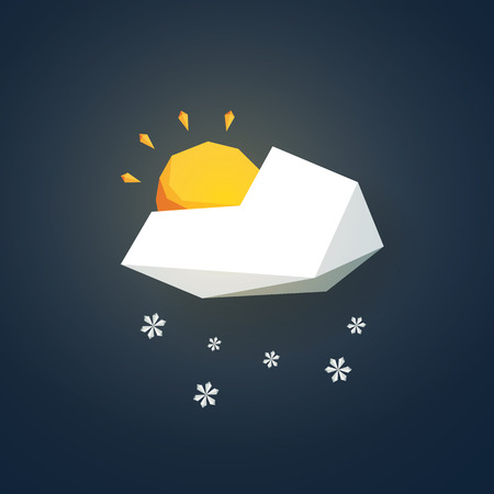 partially: Low poly weather icon. Forecast symbol in modern 3d design. Snowing and partially sunny winter sign. Eps10 vector illustration.