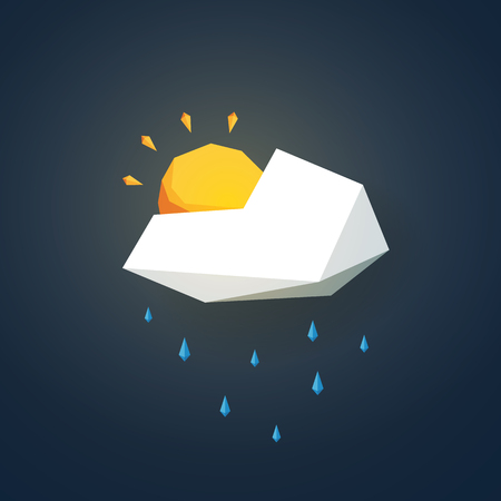 drizzle: Low poly weather icon. Forecast symbol in modern 3d design. Rain or showers and partially sunny sign. Eps10 vector illustration.