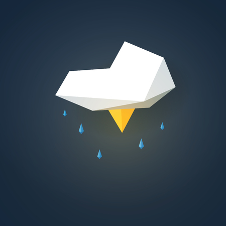 drizzle: Low poly weather icon. Forecast symbol in modern 3d design. Storm with lightning sign. Eps10 vector illustration.