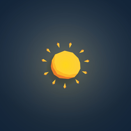 heatwave: Low poly weather icon. Forecast symbol in modern 3d design. Hot sunny summer sign. Eps10 vector illustration.