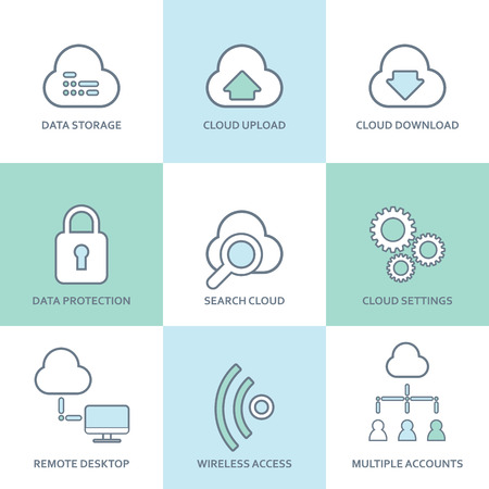 virtualization: Cloud computing line icons set. Flat design elements. Database, communication technology, hosting services, server computer symbols. Eps10 vector illustration. Illustration