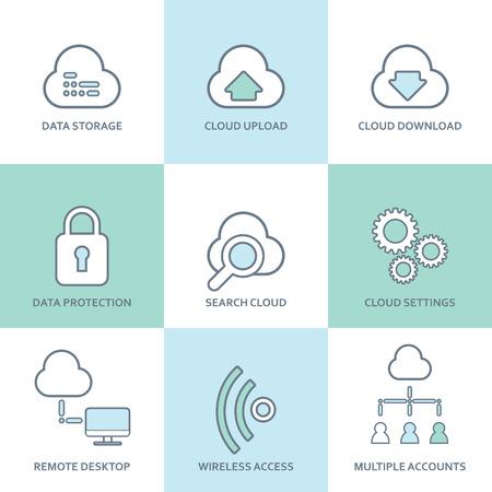desktops: Cloud computing line icons set. Flat design elements. Database, communication technology, hosting services, server computer symbols. Eps10 vector illustration. Illustration