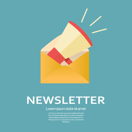 article marketing: Newsletter flat design icon. Megaphone in an envelope for business e-mail template. Promotional announcement symbol. Eps10 vector illustration.