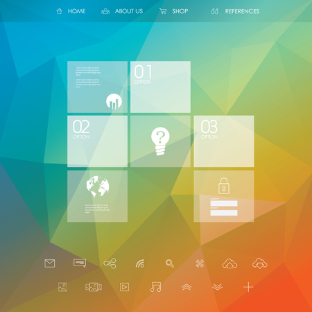 website buttons: Business website template. Landing page layout with low poly background. Set of web line icons. Eps10 vector illustration. Illustration