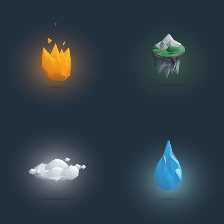Low poli cuatro símbolos de elementos. 3d formas elementales poligonales de fuego, tierra, aire y agua. Ilustración vectorial Eps10.