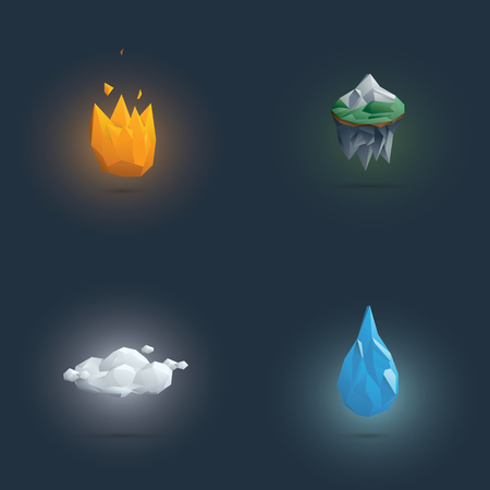 the four elements: Low poly four elements symbols. 3d polygonal elemental shapes of fire, earth, air and water. Eps10 vector illustration.