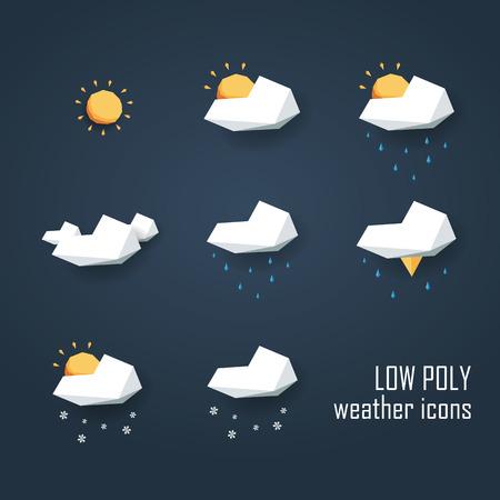 meteo: Basso icone meteo poli impostato. Raccolta di 3d simboli poligonali per le previsioni. illustrazione vettoriale eps10. Vettoriali