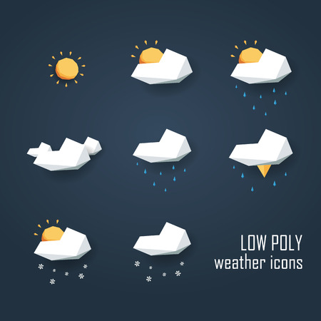 low poly: Low poly weather icons set. Collection of 3d polygonal symbols for forecast. Eps10 vector illustration.