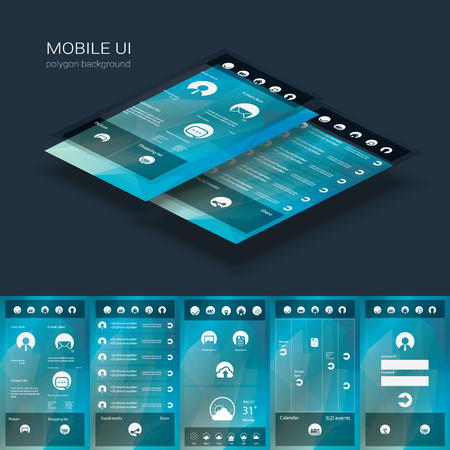 Flat design graphic user interface concept with text space suitable for infographics or advertisement. Eps10 vector illustration.