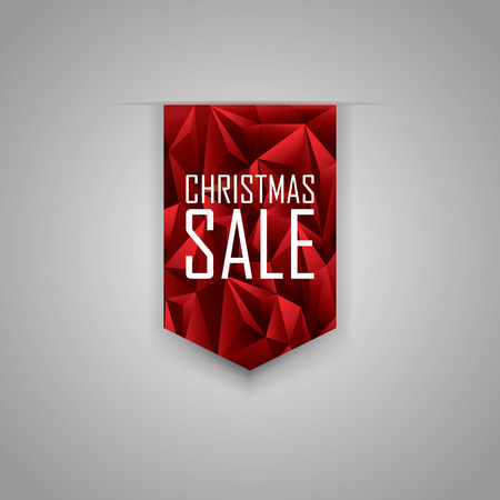 xmas background: Christmas sale ribbon element. Red polygonal background. Xmas sales promotional advertising tag. Eps10 vector illustration.